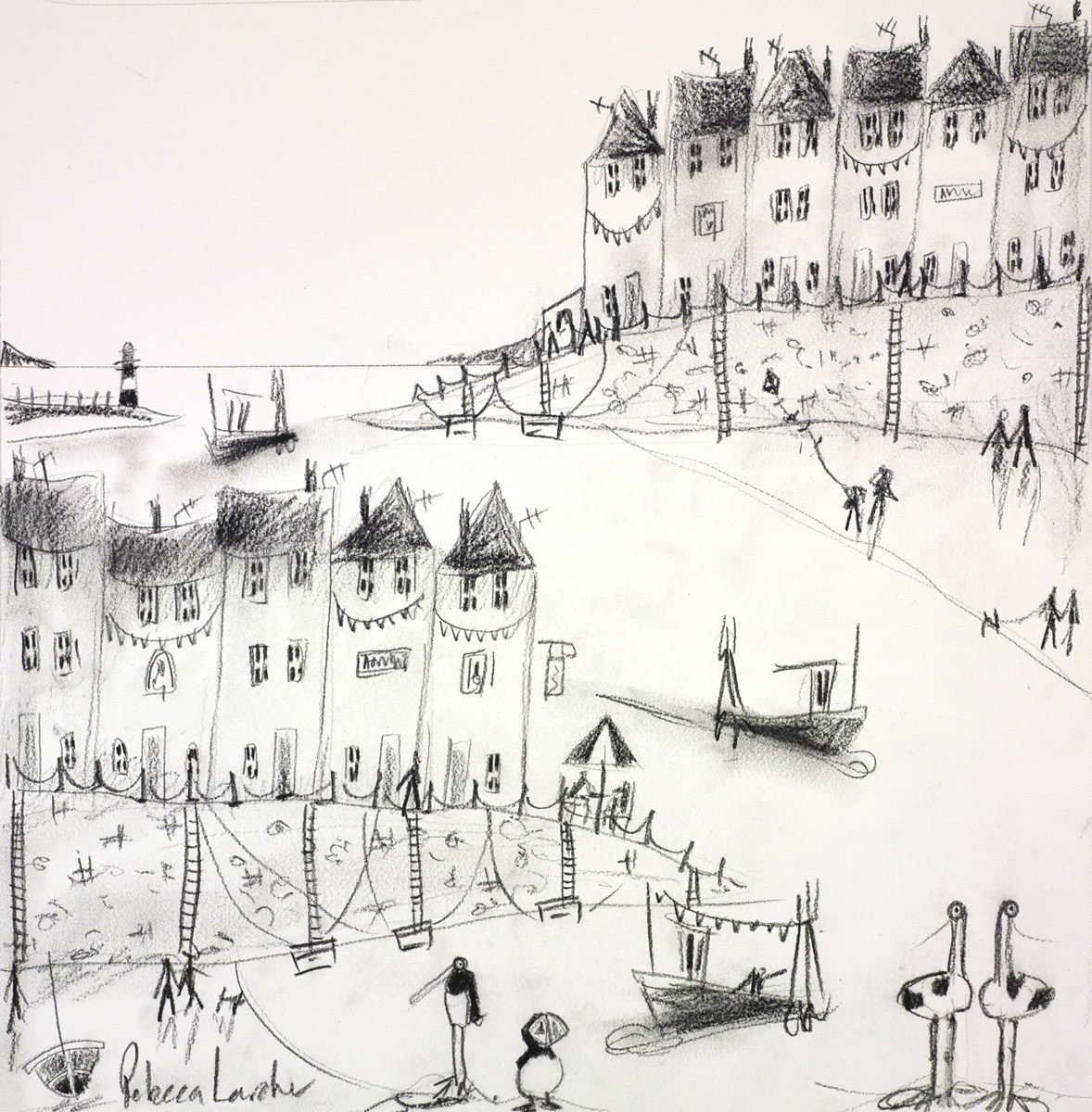 Seaside Cafe Sketch III by rebecca lardner -  sized 16x16 inches. Available from Whitewall Galleries